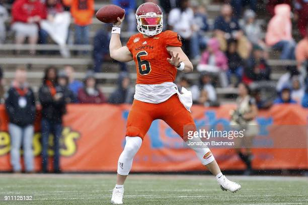 Baker Mayfield of the North team throws the ball during the first half of the Reese's Senior Bowl against the the South team at LaddPeebles Stadium...