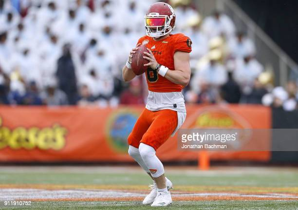 Baker Mayfield of the North team throws the ball during the Reese's Senior Bowl at LaddPeebles Stadium on January 27 2018 in Mobile Alabama