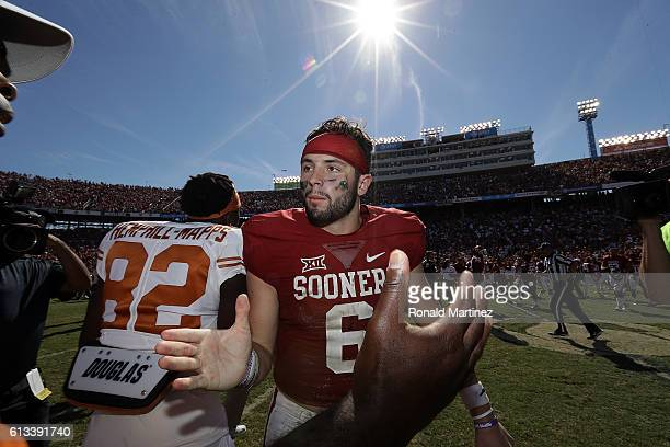 Baker Mayfield of the Oklahoma Sooners celebrates after a 4540 win against the Texas Longhorns at Cotton Bowl on October 8 2016 in Dallas Texas
