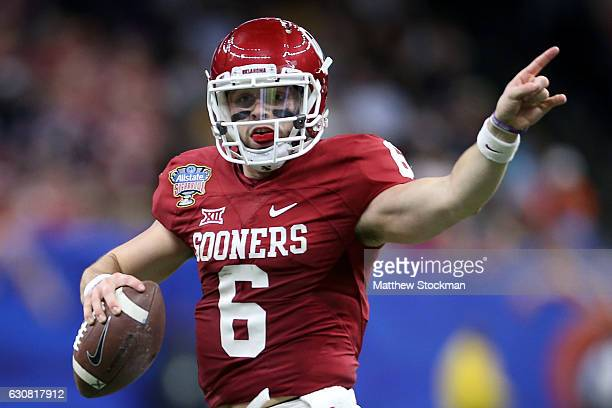 Baker Mayfield of the Oklahoma Sooners looks to throw a pass against the Auburn Tigers during the Allstate Sugar Bowl at the MercedesBenz Superdome...