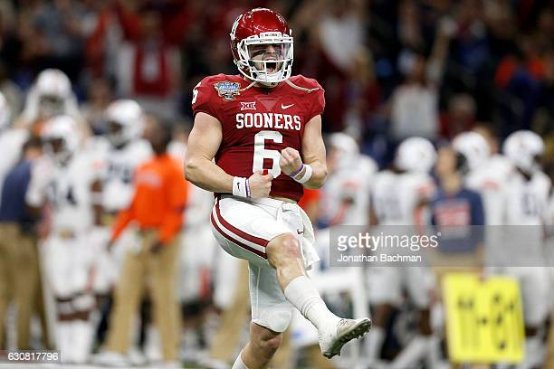 Baker Mayfield of the Oklahoma Sooners reacts after a touchdown against the Auburn Tigers during the Allstate Sugar Bowl at the MercedesBenz...