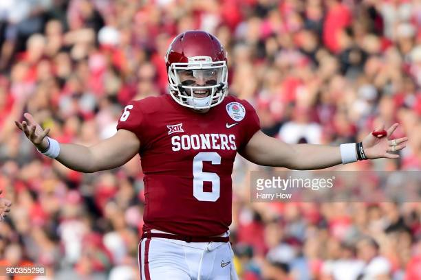 Baker Mayfield of the Oklahoma Sooners reacts after there is no penalty call on a pass during the second quarter in the 2018 College Football Playoff...