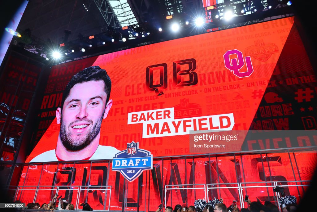 Baker Mayfield on the video board selected by the Cleveland Browns with the First Overall pick in the First Round of the 2018 NFL Draft on April 26, 2018 at AT&T Stadium in Arlington Texas.