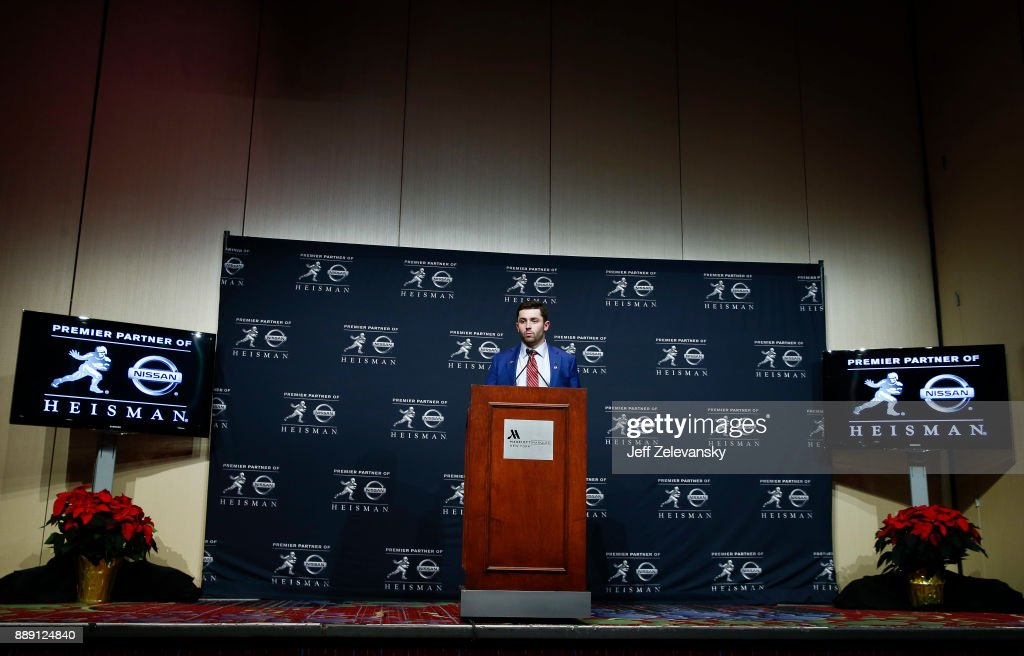 Baker Mayfield, quarterback of the Oklahoma Sooners, speaks to the media during a press conference after the 2017 Heisman Trophy Presentation at the Marriott Marquis December 9, 2017 in New York City.