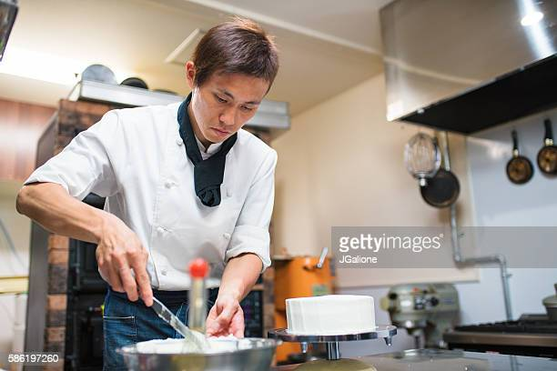 Baker mixing icing
