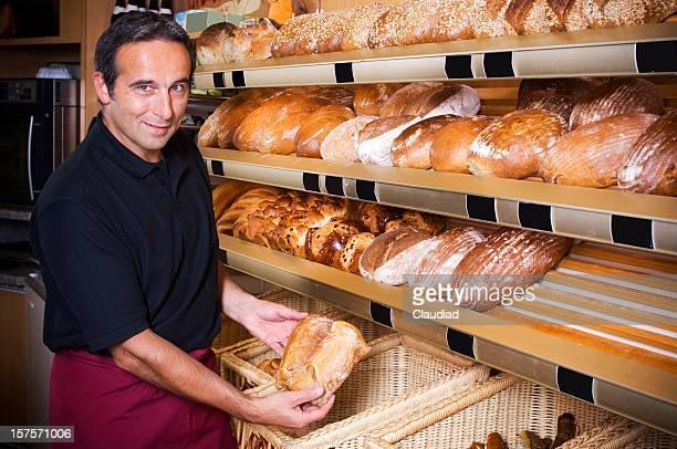 Baker selling bread