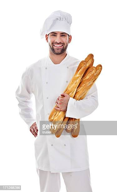 baker with fresh bread - franse cultuur stockfoto's en -beelden