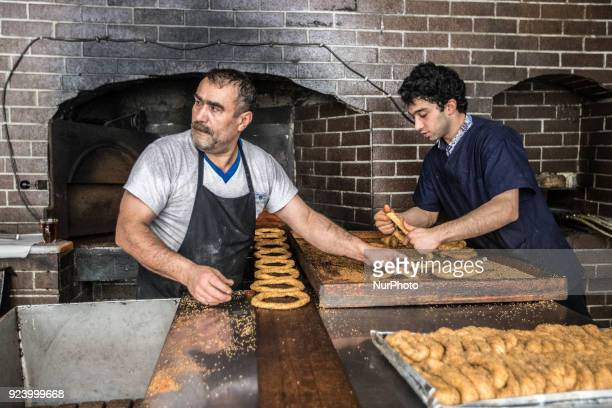 Bakers are making traditional Turkish bagel quotsimitquot in an old bakery in Istanbul on 24 February 2018 Turkish bagel quotsimitquot is a popular...