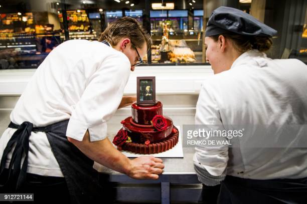 Bakers of bakery Landwaart make a special birthday cake for Dutch Princess Beatrix on her 80th birthday on January 31 in Maartensdijk / AFP PHOTO /...