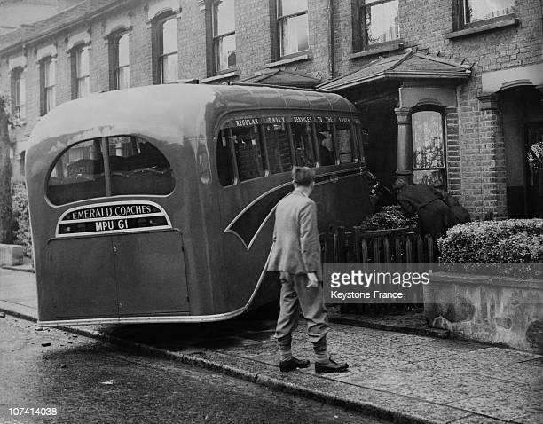 Bakers Van Crashed Into A House After Collision With A Motor Coach At London Tottenham In United Kingdom On June 1St 1949