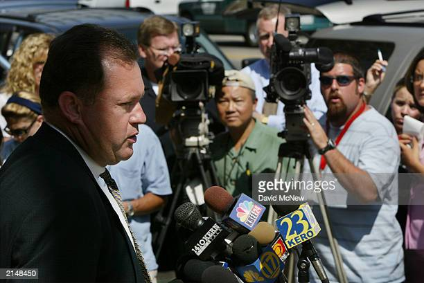 Bakersfield Police Capt Neil Mahan speaks during a press conference about the discovery of a murdered family of five July 9 2003 in Bakersfield...