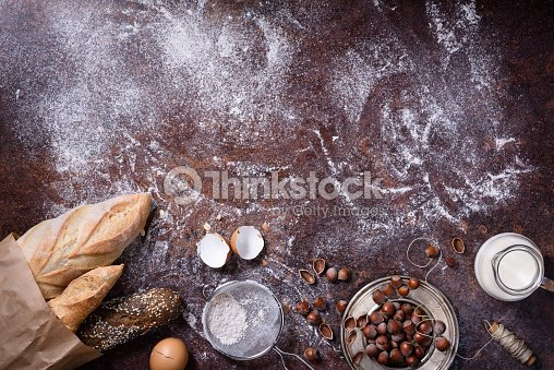 Bakery Background Baking Ings Over Rustic Kitchen Table