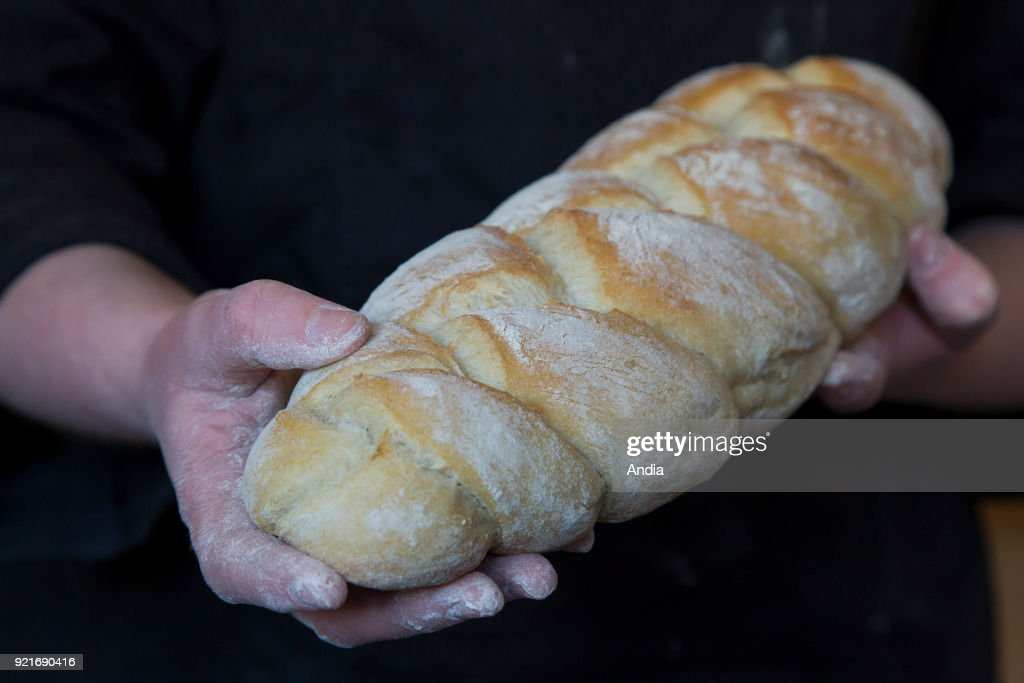 bread baked in a wood-fired oven. Baker holding a braided bread in his hands.
