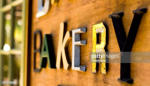 Bakery Cafe Restaurant, Retail Store Business Sign on Outdoor Wall