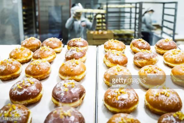 Bakery 'Dobra Paczkarnia' sales donuts for Fat Thursday. Krakow, Poland on February 11, 2021. Fat Thursday is a traditional Catholic Christian feast...
