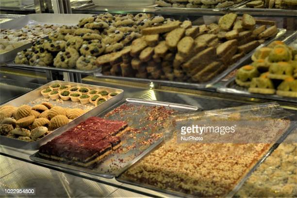 Bakery goods sit on a counter at a pastry shop on the third day of Eid alAdha in southern Kahramanmaras province of Turkey on August 23 2018