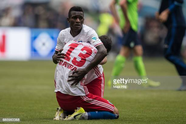 Bakery Jatta and Megrim Mavraj of Hamburg celebrate after the Bundesliga match between Hamburger SV and VfL Wolfsburg at Volksparkstadion on May 20...