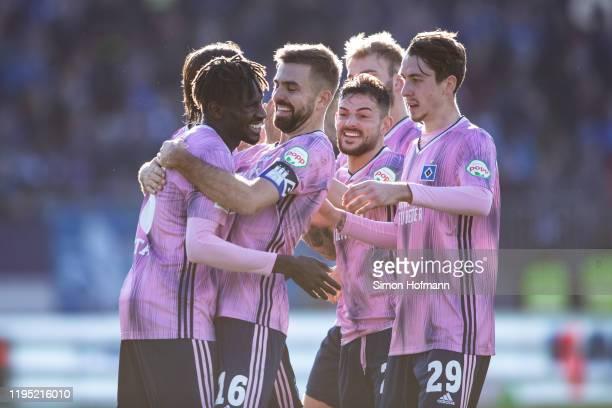 Bakery Jatta of Hamburg celebrates his team's second goal with team mate Lukas Hinterseer during the Second Bundesliga match between SV Darmstadt 98...