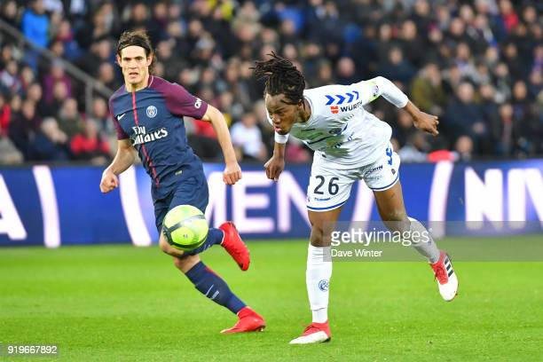 Bakery Kone of Strasbourg and Edinson Cavani of PSG during the Ligue 1 match between Paris Saint Germain and Strasbourg at Parc des Princes on...