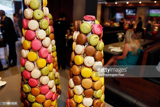PAUL bakery macaron tower made of pistachio lemon raspberry coconut chocolate and caramel macaron's at the Washington Area Concierge 'Uncover Your...