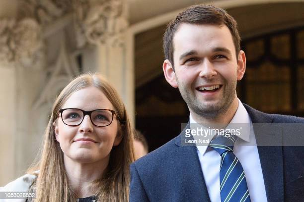"""Bakery owners Amy and Daniel McArthur, who own """"Ashers"""" in Belfast, speak to the media outside the Supreme Court after winning their appeal against a..."""