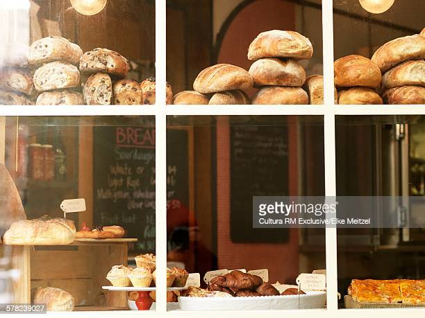 Bakery window display with breads and savouries, Melbourne, Victoria, Australia
