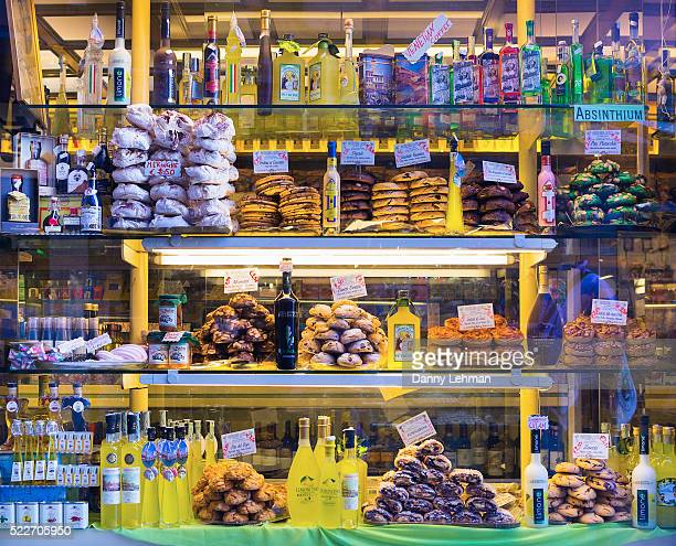 bakery with liqueurs, venice, italy - marzipan stock pictures, royalty-free photos & images