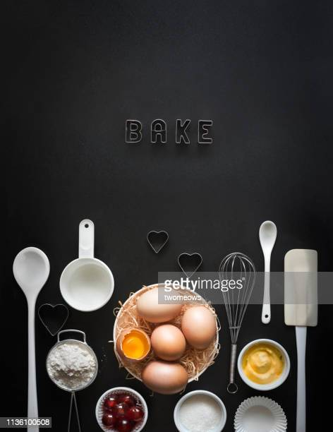 baking concept still life text space image. - kitchen utensil stock pictures, royalty-free photos & images