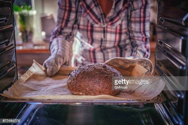 Baking Homemade Brown Bread in the Oven