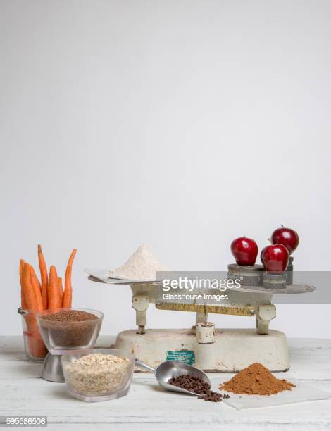Baking Ingredients and Old-Fashioned Scale