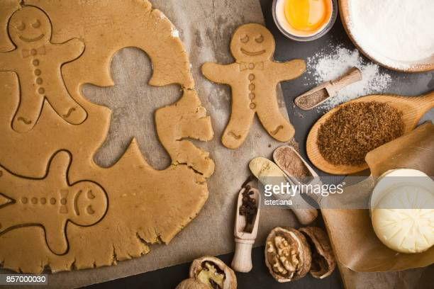 Baking ingredients and tools for gingerbread dough