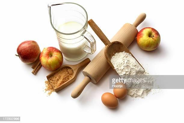 Baking Ingredients: Apple Pie (Flour, Eggs, Sugar, Apples, Cinnamon, Milk)