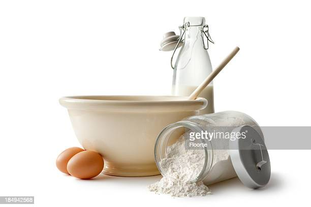 baking ingredients: bowl, eggs, flour and milk - ingredient stock pictures, royalty-free photos & images