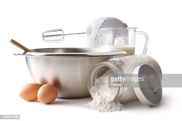 Baking Ingredients: Bowl, Electric Mixer, Eggs and Flour