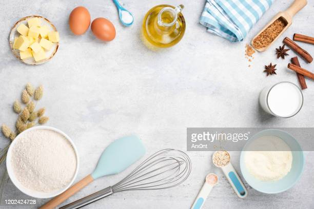 baking ingredients, condiments and utensils - cooking utensil stock pictures, royalty-free photos & images