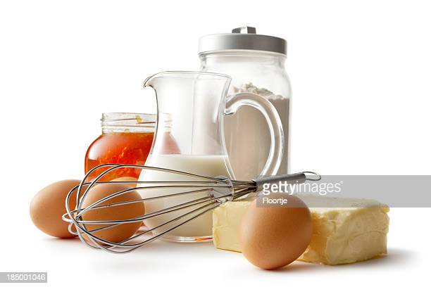 Baking Ingredients: Eggs, Butter, Flour, Milk and Honey