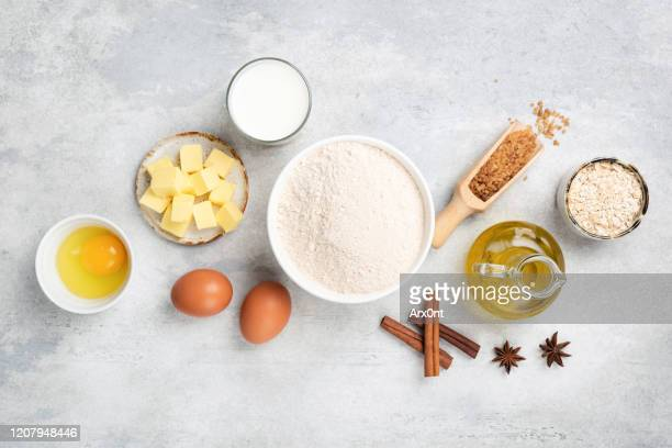 baking ingredients flat lay - butter stock pictures, royalty-free photos & images