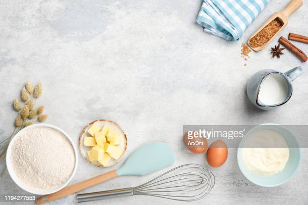 baking ingredients on background with copy space - sopra foto e immagini stock