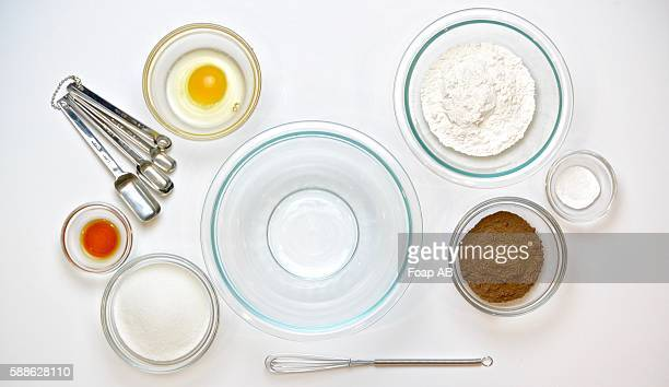 Baking ingredients on white background
