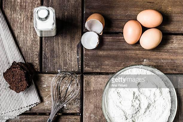 Baking ingredients top view