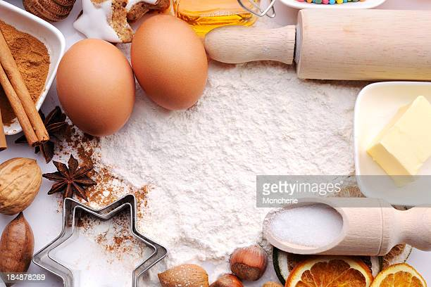 Baking ingredients with copy space