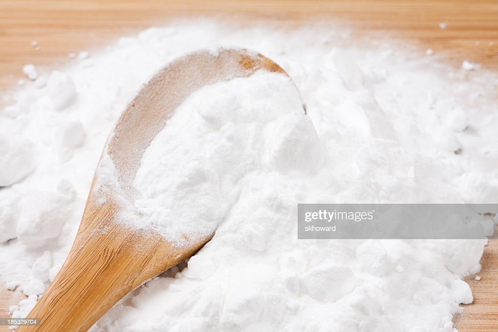 Baking Soda with Wooden Spoon : Stock Photo
