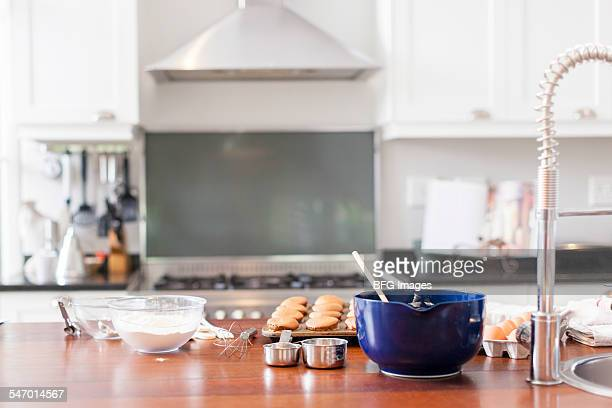 Baking trays, ingredients and cupcakes on kitchen counter  , Cape Town, South Africa