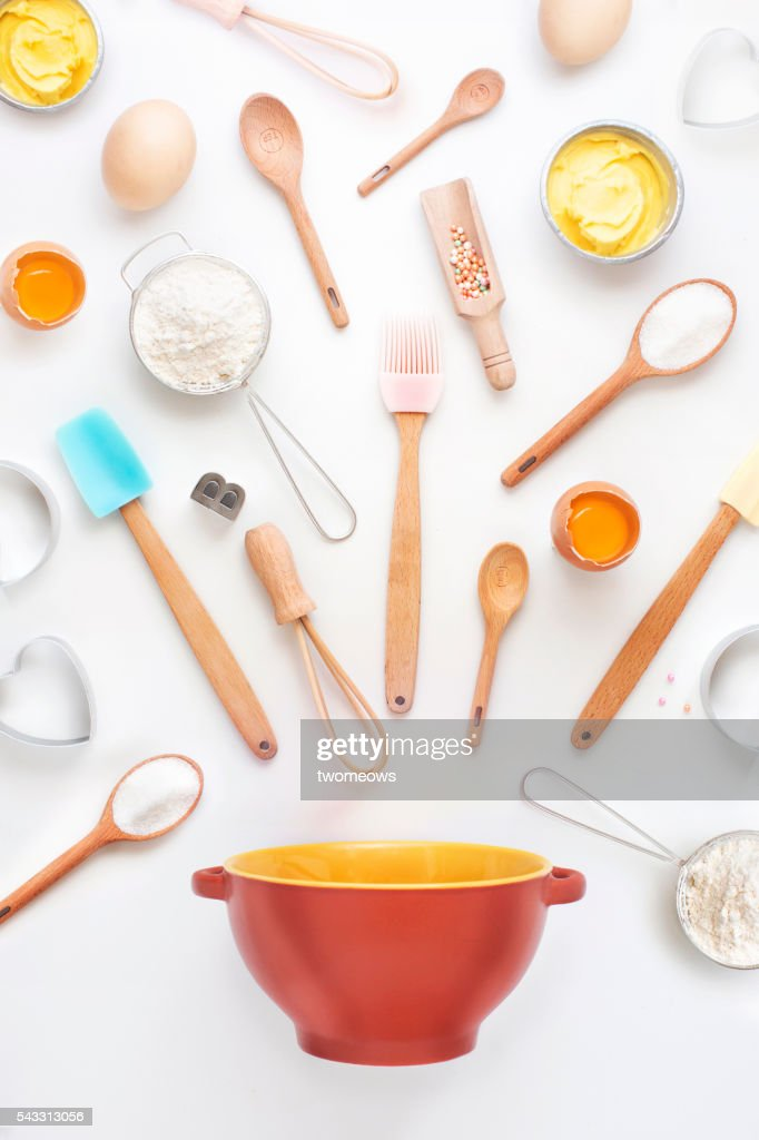 Baking utensil and baking ingredient on clean white background. Flay lay overhead view image. Modern design bakery poster wallpaper. : Stock Photo