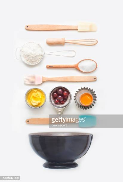 Baking utensil and baking ingredient on clean white background. Flay lay overhead view image. Modern design bakery poster wallpaper.