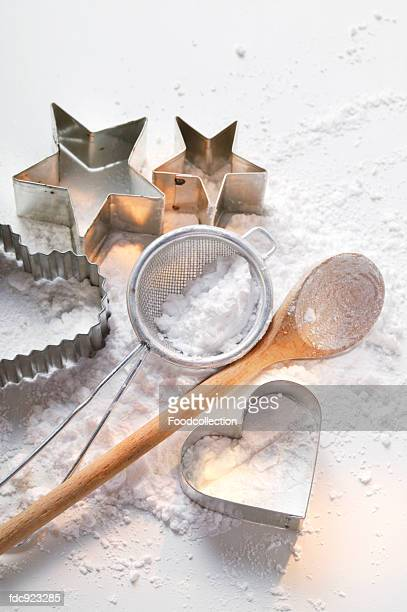 Baking utensils and icing sugar
