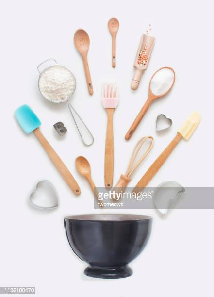baking utensils object still life. - kitchen utensil stock pictures, royalty-free photos & images