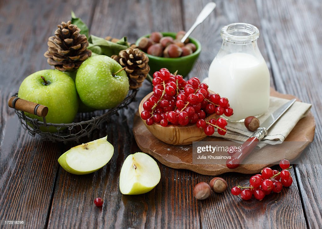 Baking with apples and red currant : Stock Photo