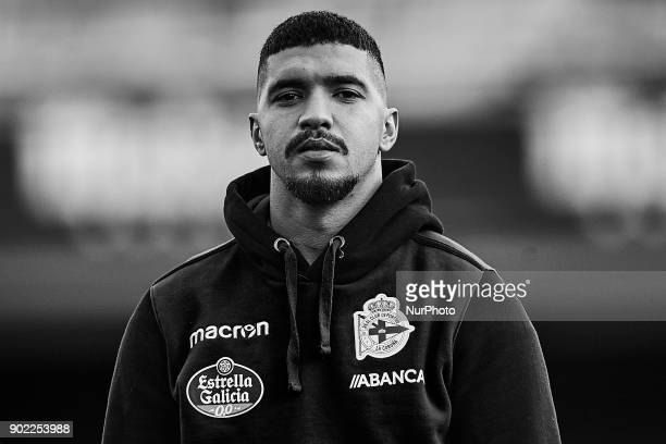 the image has been converted to black and white Bakkali of Deportivo de La Coruna looks on prior to the La Liga game between Villarreal CF and...