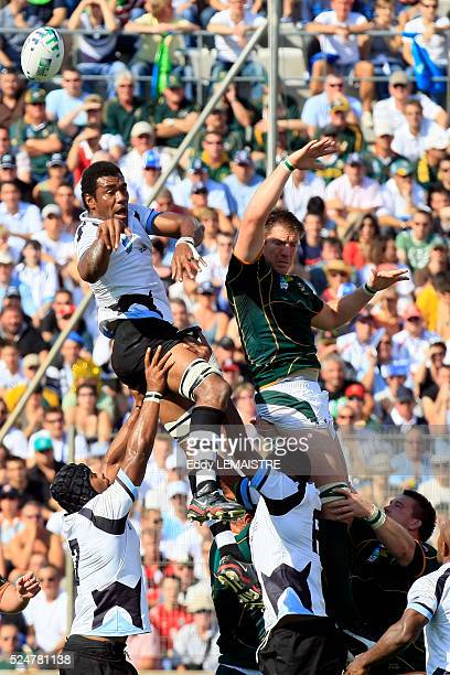 Bakkies Botha and Ifereimi Rawaga during the IRB World Cup rugby quarter final between South Africa and Fiji.